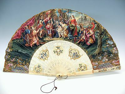Fabulous 1800's hand painted Ladies fan with elaborate Roman scene Warriors