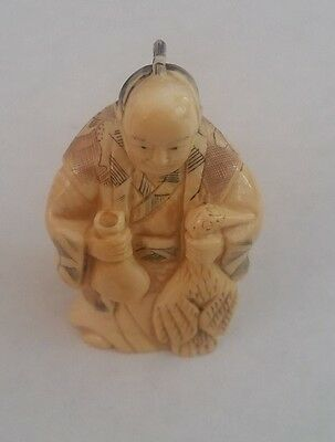 Netsuke  Man With Game Bird / Signed