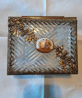 Vintage Victorian Crystal and Bronze Trinket Box