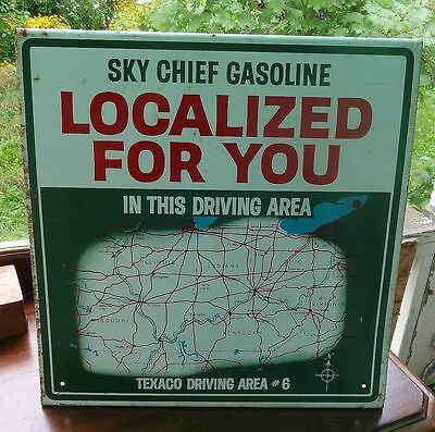 Vintage Texaco Sky Chief Gasoline Localized For You Map Sign Double Sided Area 6