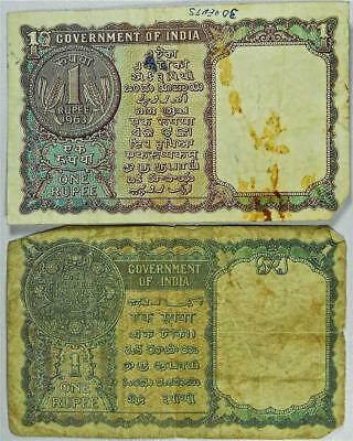 Set of 2- India One Rupee Paper Currency, 1940 & 1963 King George VI,  #B8