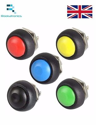 12mm Round Metal Push Button Momentary Switch Black White Red Green Blue Yellow
