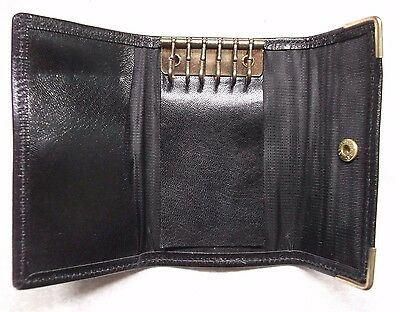 COMPACT BLACK REAL LEATHER VINTAGE KEY WALLET 1980s 1990s MOD RETRO