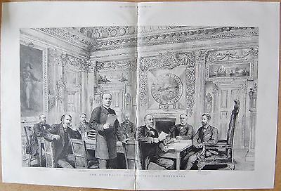 1887 Antique Print - The Admiralty Board Sitting At Westminster - Named