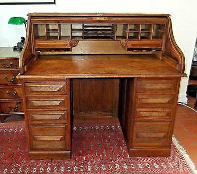 Antique Edwardian Oak Cutler Roll Top Desk~S-Shaped Tambour~Panelled Sides~Key