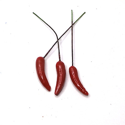 50 PCS Artificial 35mm Chilies on wire Artificial Fruit on wire Artificial Berry