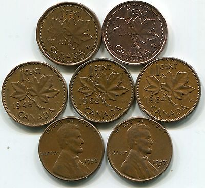 Misc. Canada cents and US-wheat cents-avg circulation