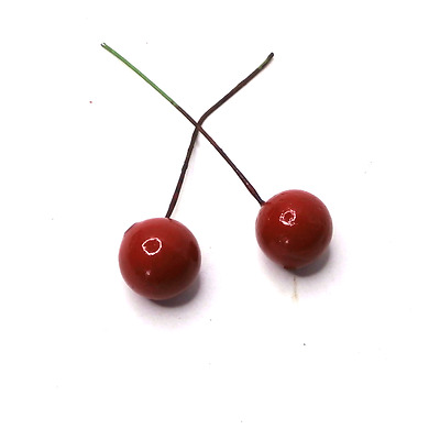 50 PCS  Artificial 20mm Cherry  on wire Artificial Fruits Artificial Berries