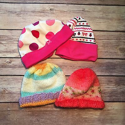 Lot Of 4 Baby Girl Hats Newborn 0-3 Months Baby Accessories Caps