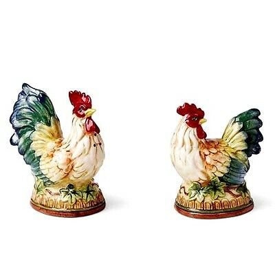 FITZ&FLOYD Rooster Hen Mediterraneo French Country Salt Pepper Figurines Retired