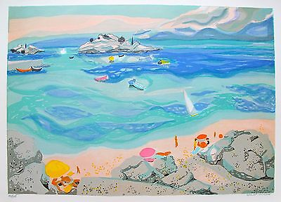 """GEORGES LAMBERT """"SUR LA PLAGE"""" Hand Signed Limited Edition Lithograph"""