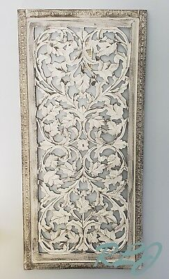Rustic Tuscan Shabby Chic White Washed Carved Wood Wall Art