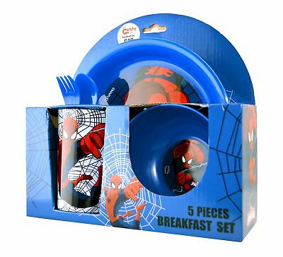 Spiderman 'Strike' 5 Piece Breakfast Dinner Set Brand New Gift