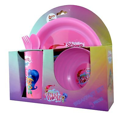 Shimmer & Shine 'What' S Your Wish' 5 Piece Breakfast Dinner Set Brand New Gift
