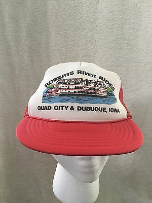 Vintage Roberts River Rides Quad City Dubuque Iowa Snapback Mesh Trucker Hat Cap