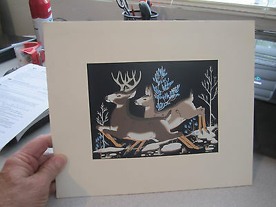 original Zuni artist Percy Sandy Kai Sa silk screen Frolic