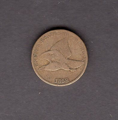 US 1858 LL Flying Eagle One Cent Coin in G to VG Condition