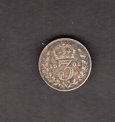 Great Britain 1901 3 Pence Silver Coin - Nice Coin!