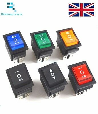 Rectangular Latching Rocker Switch 3 Position 6 Pins Black Red Green Blue Yellow