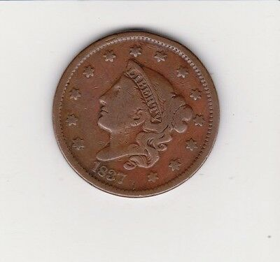 1837 Large Penny 170 Years Old  Pq Coin Color And Detail Free Shipping