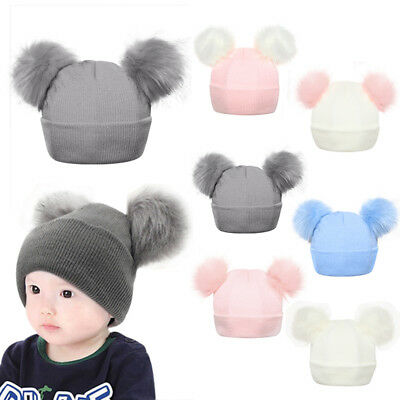Infant Baby Winter Outdoor Knitted Cap with Double Fur Pom Pom Cute Beanie Hat G