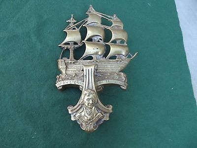 Large Vintage Brass Hms Victory Door Knocker