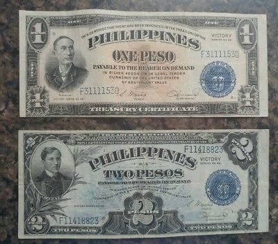 TWO WW2 Philippines One & Two Peso Victory Series No. 66 Banknotes MINT