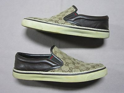 83dc09aac1b69 Gucci Mens Signature Monogram Brown Sneakers Slip On Shoes Size 9.5 G   212225