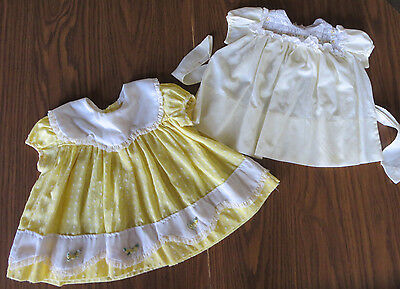 Vintage Yellow Baby Dress Lot 9 mos.