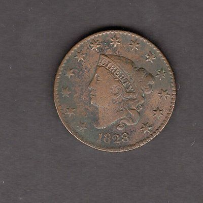 US Large Coronet Head Cent 1828 in VG to F Very Good to Fine Condition