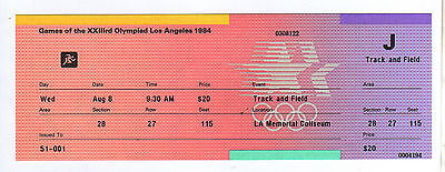 Orig.ticket   Olympic Games LOS ANGELES 1984  -  08.08.  Athletics - with FINALs