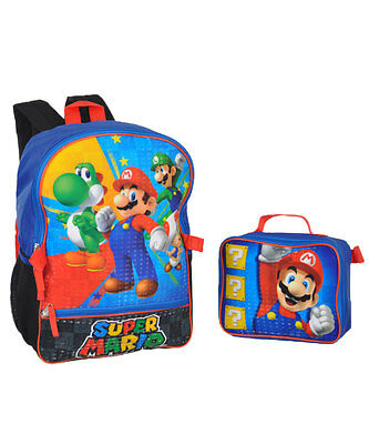 "Super Mario Brothers ""Hit Start"" Backpack with Lunchbox"