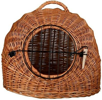 Trixie Classic Wicker Cat Pet Basket Den Transport Carrier Bed Box with Bars