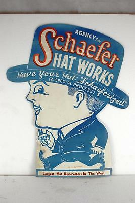 Schaefer Hat Works Original Cardboard Thick Paper Stick Sign 1923 Excellent