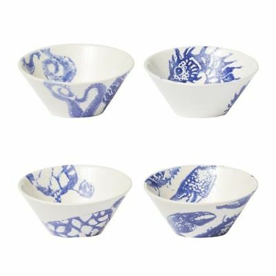 New Vietri Costiera Assorted Blue Small Bowls, S/4