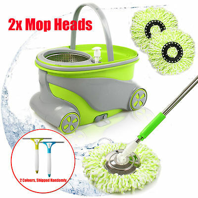 360° Spin Dry Mop Magic Rotating Microfiber Dust Cleaning Spinning Bucket Head
