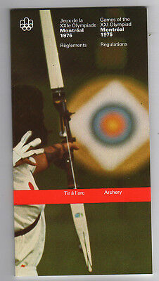 Orig.PRG / Rules / Regulations  Olympic Games MONTREAL 1976 - ARCHERY  !!  RARE