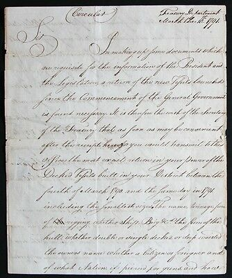 Tench Coxe, Manuscript Circular Letter, from the Treasury Dept. March 10, 1791