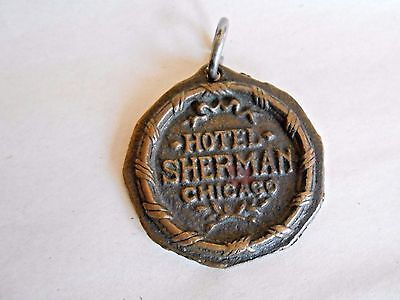Vintage Hotel Sherman Chicago Drop in Mail Box Heavy Bronze Room Key Fob