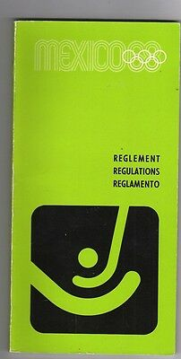 Orig.PRG / Regulations   Olympic Games MEXICO 1968 - HOCKEY  !!  VERY RARE
