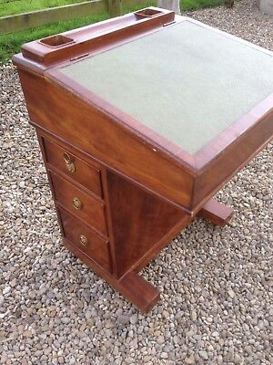 Mahogany Davenport Desk / Small Writing Desk With Drawers And Leather Top