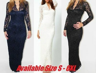 UK Women Maxi Lace V-Neck Bodycon Evening Party Long-Sleeve Dress Prom Plus Size