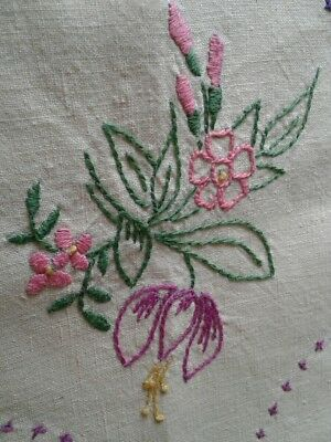 vintage hand embroidered linen tablecloth fushias and roses large square