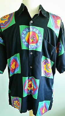 Vtg Mens Countess Mara Hawaiian Camp Shirt Disco Artist Bold Colorful Campy Sz M