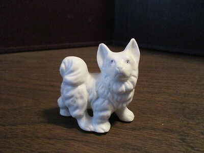 Vintage Husky Dog Porcelain Pottery Figurine - Embossed JAPAN
