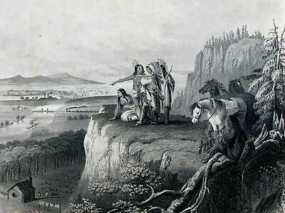 Native Americans Indians progress 1864 Johnson antique vignette frontispiece
