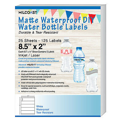 "Milcoast Matte DIY Water Bottle Labels 8.5"" x 2"" Waterproof 125 Labels 25 Sheets"