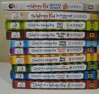 Lot Of 10 Diary Of A Wimpy Kid Book Series Jeff Kinney Includes Movie & Diy Book