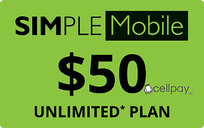 SIMPLE Mobile $50 Monthly Unlimited Plan Refill! Wireless Balance Reload
