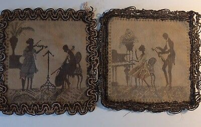 2 Antique Miniature French TAPESTRY Made in France Woman Romantic Music Scene
